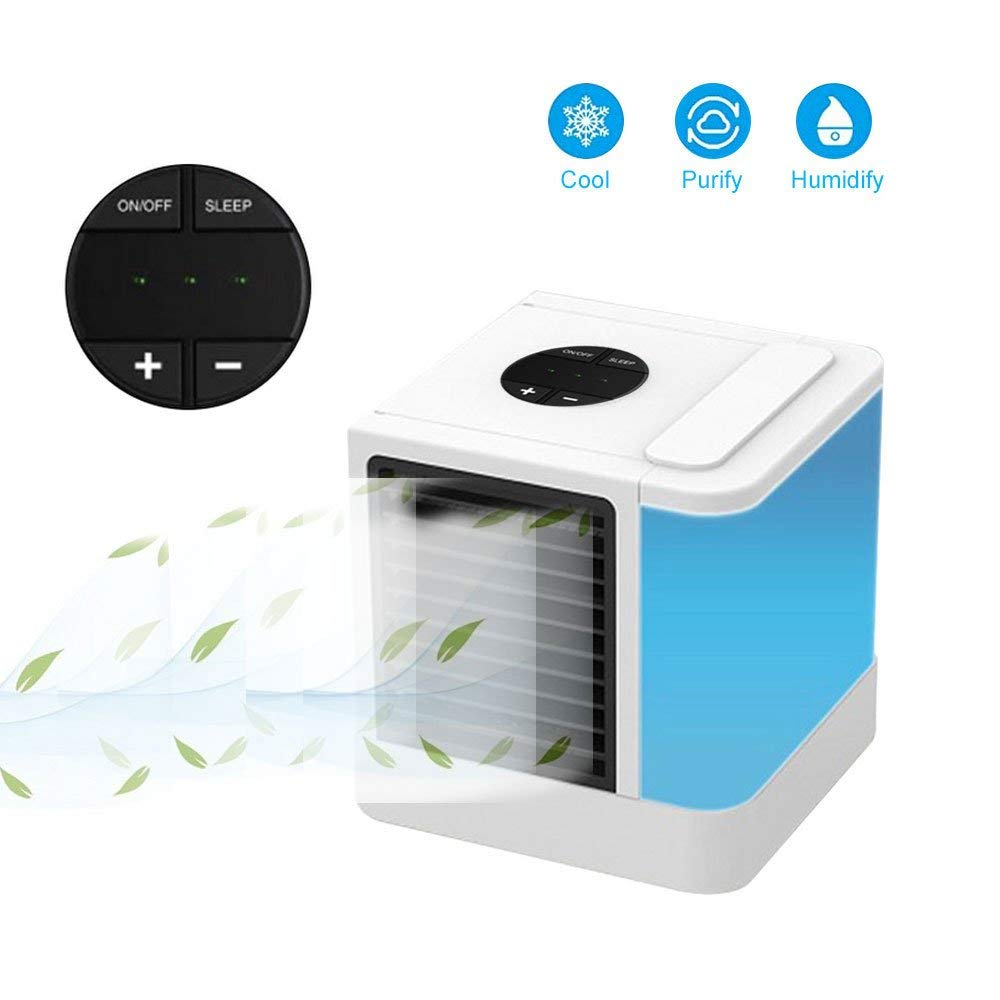 Kobwa Personal Space Air Cooler, 3 in 1 Portable Mini Air Cooler, Humidifier & Purifier with 7 Colors Adjustable LED Lights, 3 Fan Speeds Portable Air Conditioner for 45 Square Feet Office and Bedroom