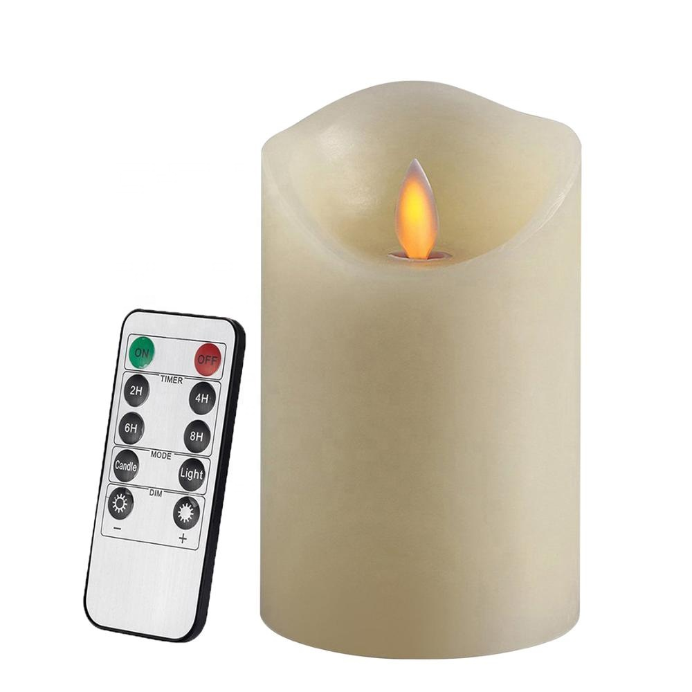 Woondecoratie Afstandsbediening Dancing Flame Wax Pillar LED Kaars