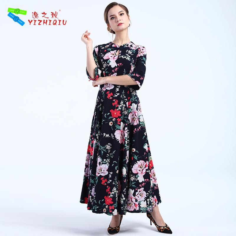 YIZHIQIU lady linen black maxi dresses