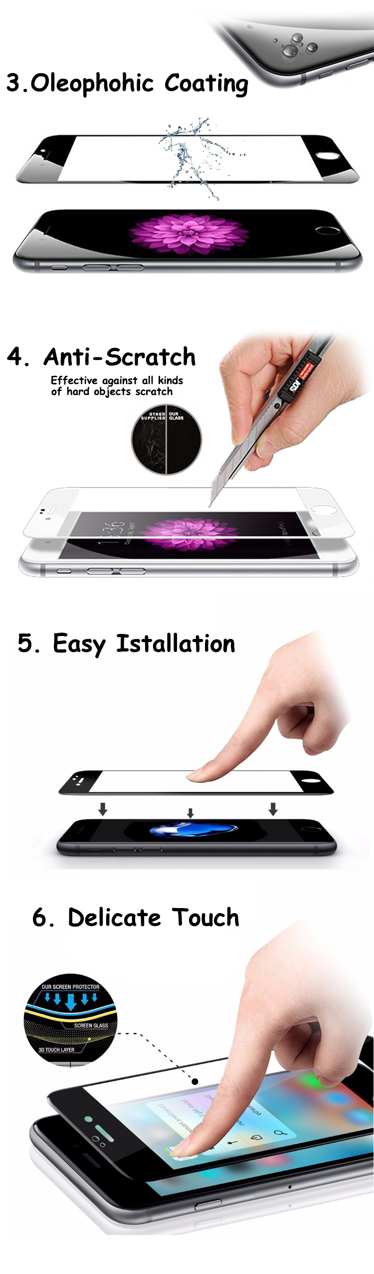 Oil resistant simple 9h screen protector for iphone 6 / 6s film 3d 0.33mm screen protector tempered glass