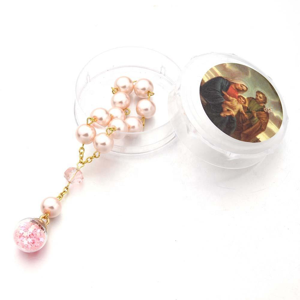 Christian Rosa oración perlas de cristal pulsera rosario