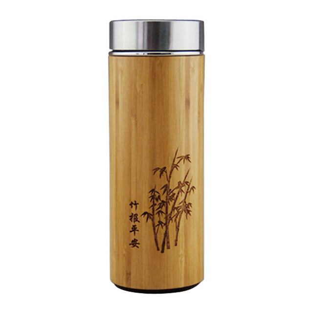500ml Natural Bamboo Mug Thermos Coffee Cup With Purple sand Inner