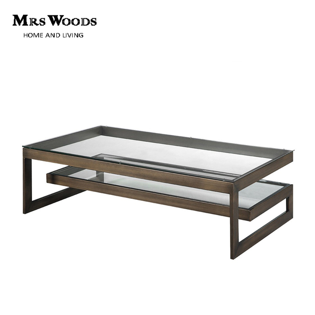 Industrial Modern Glass Top Stainless Steel Base Rectangular Coffee Table  With Shelf
