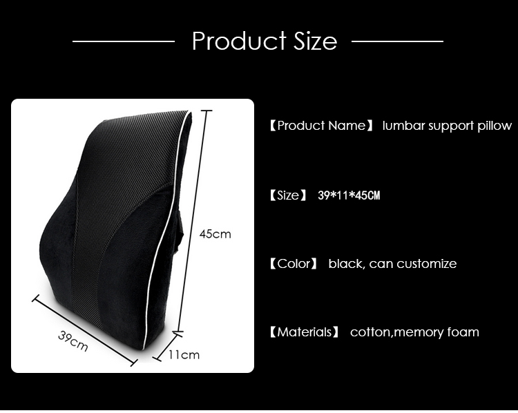 Car Massage Pillow Memory Foam lumbar Support Pillow  Seat Chair Waist Lumbar Back Support Cushion