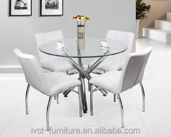 Exceptional Modern 4 Seater Round Shaped Dining Table With Tempered Glass And Chrome  LegModern 4 Seater Round Shaped Dining Table With Tempered Glass And