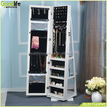 Rotating floor stand cosmetic shelf floor mirror jewelry armoire
