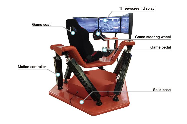 Gagner de L'argent VR Emballant Électrique Enfants Voiture 3 Écrans 4 DOF Simulateur De Voiture