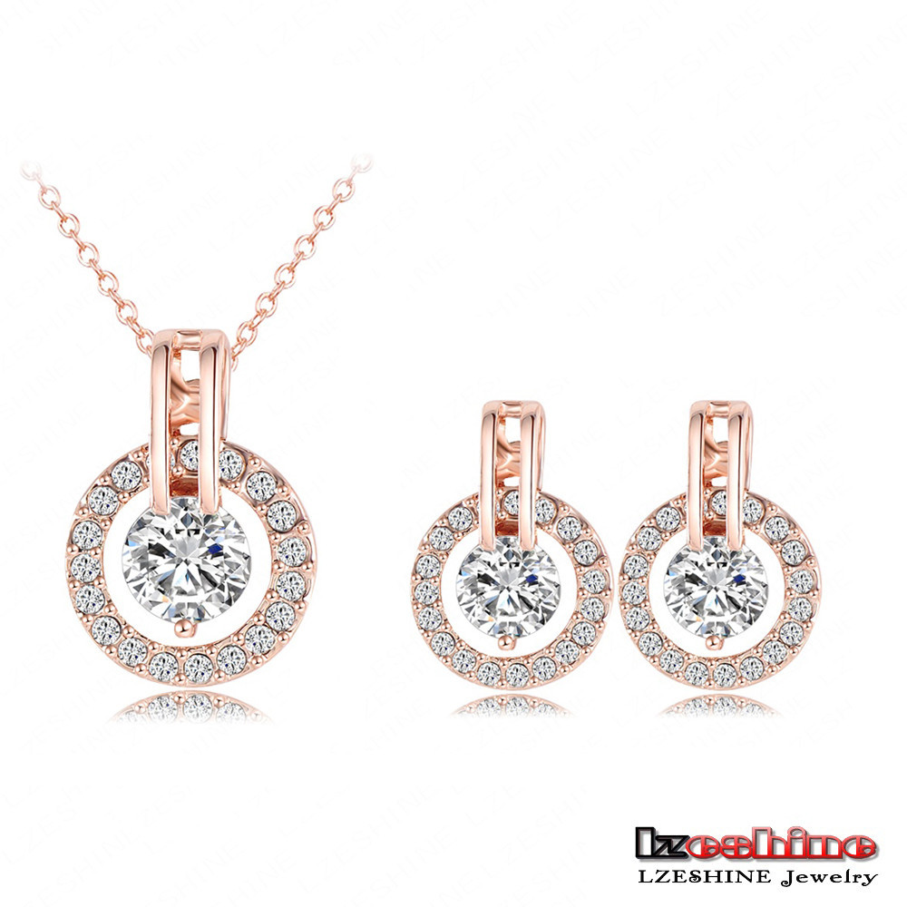 Fashion 18K Rose Gold Plated Wedding Bridal Jewelry Set Mrico Inlay AAA Cubic Zinrconia Jewelry Sets Wholesale ST0017