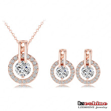 Fashion 18K Rose Gold Plated Wedding Bridal Micro Inlay AAA Cubic Zirconia Jewelry Sets Wholesale ST0017