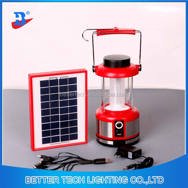 Red Body Color Portable Solar Lantern with mobile phone charger with 3w plastic solar panel