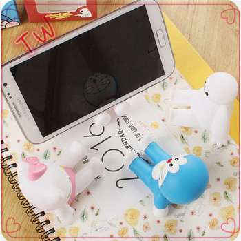 Hot Selling cell phone accessory packaging 2018 Alibaba Europe cartoon cute animal shaped phone holder PVC cell phone stand