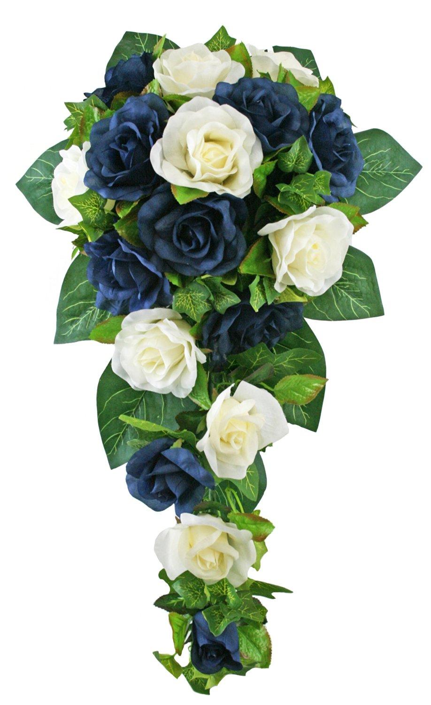 Buy Navy Blue And Ivory Silk Rose Cascade Silk Bridal Wedding
