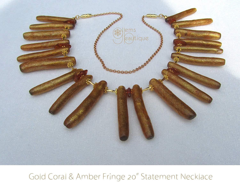 "GemsBeautique Baltic Amber and Gold Coral Stick Fan 20"" Choker Necklace. Elegant Statement Fringe Fan Necklace."