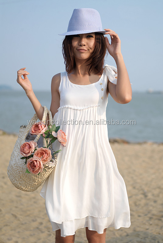 e9792056ed Womens Summer Casual White bowknot-shoulder Short Mini Dress Beach Wear  cocktail party lovely sweet dress
