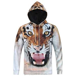 wholesaler and factory 3d t-shirt full size colorfull sublimation tiger with opening mouth men pullover hoodies