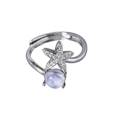 CYMO 2018 dainty jewelry rainbow moonstone 925 sterling silver adjust size star ring