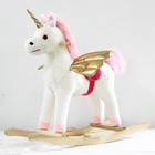 Children Ride on Toy Animal Unicorn Rocking Horse Plush Rocking Unicorn Toy with Golden Wings