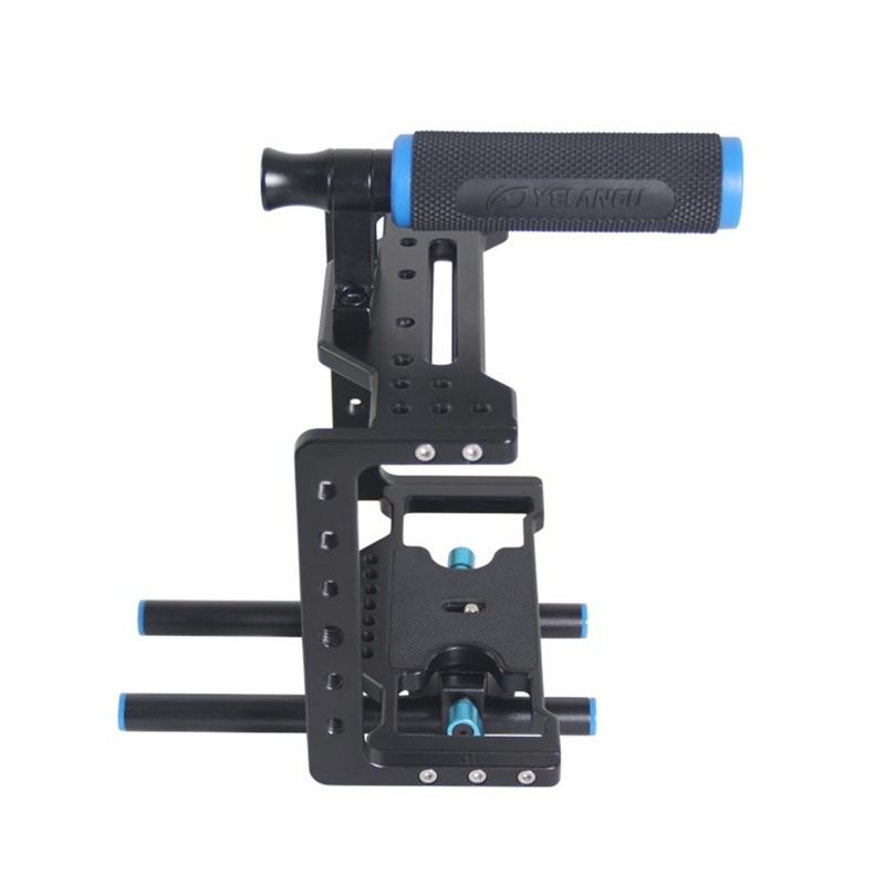 Professional Stabilizer Rig Super Camera Cage Kits 15mm Rail Rod System with Top Handle for Video 5d II III 7d 60d 550d