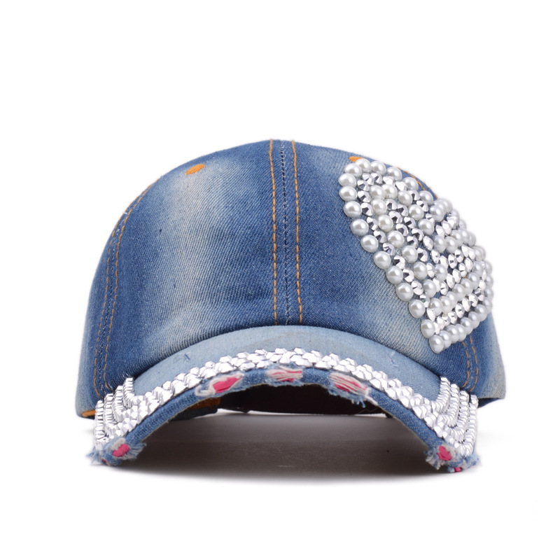 New Loving Heart Bling Blue Denim Jean Cap Diamond Pearl Decoration For Women Lady baseball Cap