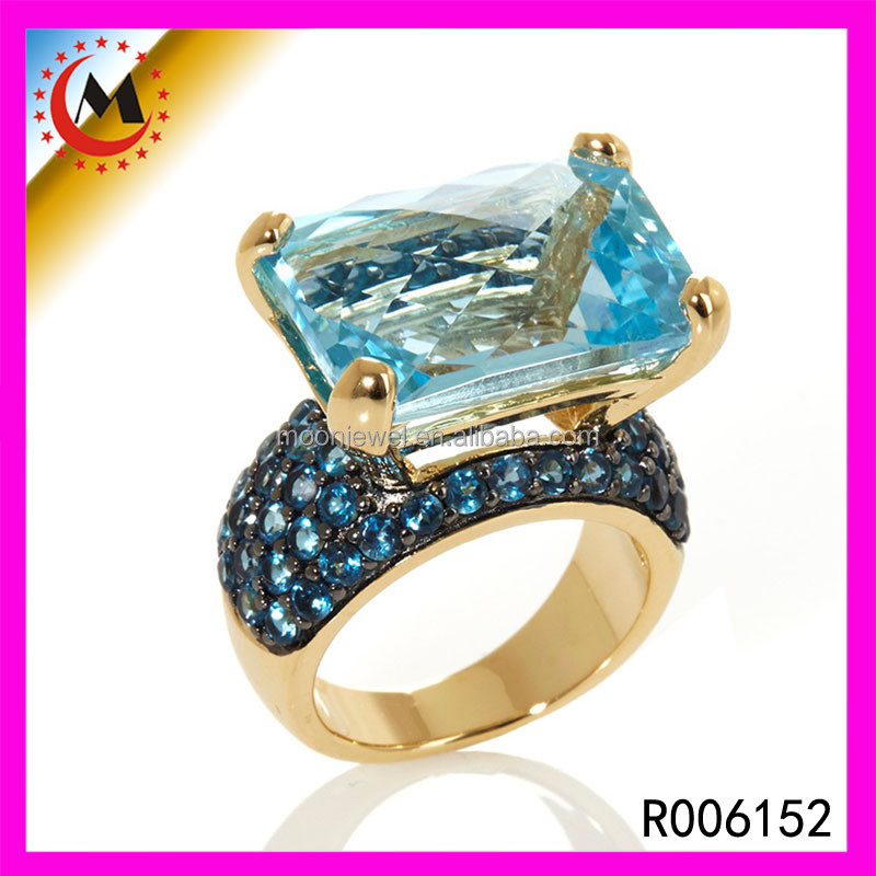 Luxury Jewellery Ladies Amazing Design Pure Handmade High Polish Cocktail Sparkling Diamond Created Ring