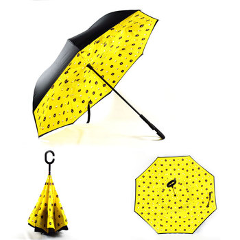 Ready stock for 90 designs wholesale price c handle inverted umbrella