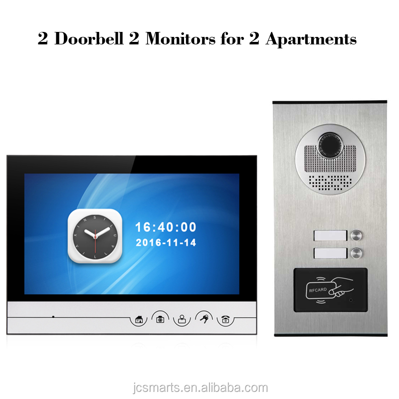 "Multiunits video intercom doorbell HD 700line door viewer camera phone with 9"" inch big color screen"