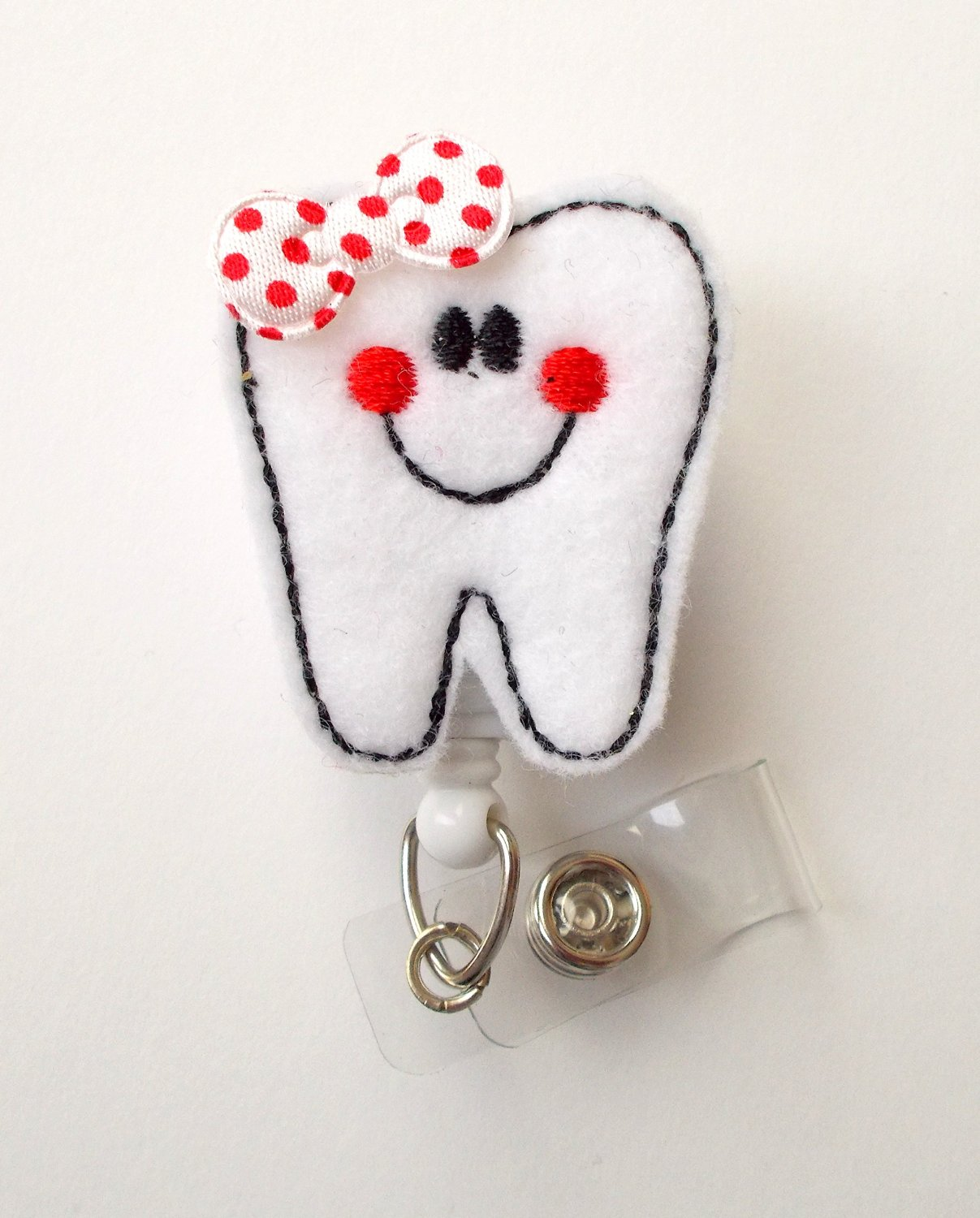 Tina the Tooth - Retractable ID Badge Reel - Dental Assistant Badge Holder - Cute Badge Reel - Dentist Badge Holder - Orthodontist Badge Clip - Orthodontic Assistant Badge - Felt Badge - Dental Hygienist ID Badge - The Badge Shack