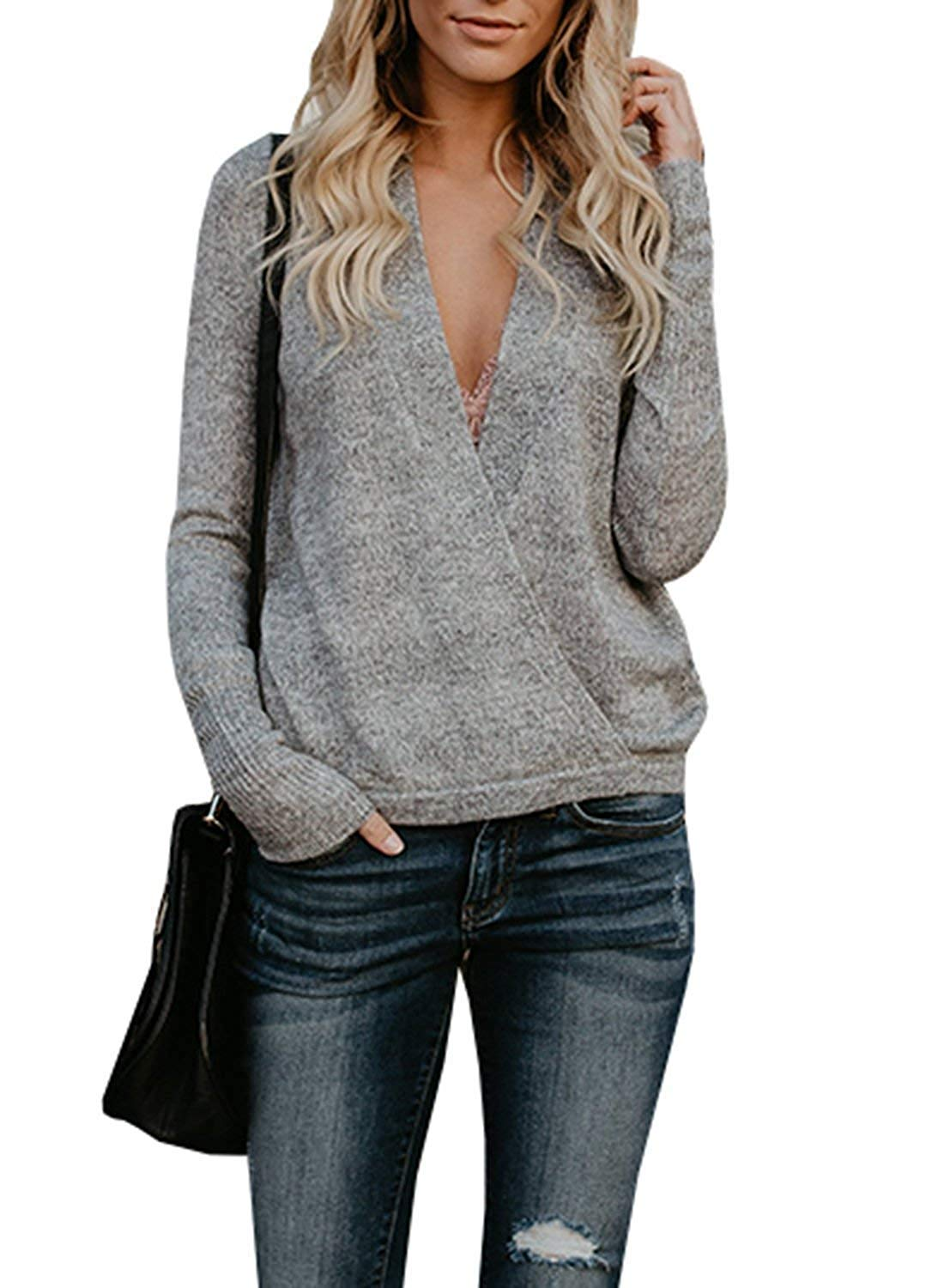 Get Quotations · Mafulus Womens Sweaters Deep V Neck Long Sleeve Casual Knit  Wrap Pullover Tunic Tops 846e03f6d
