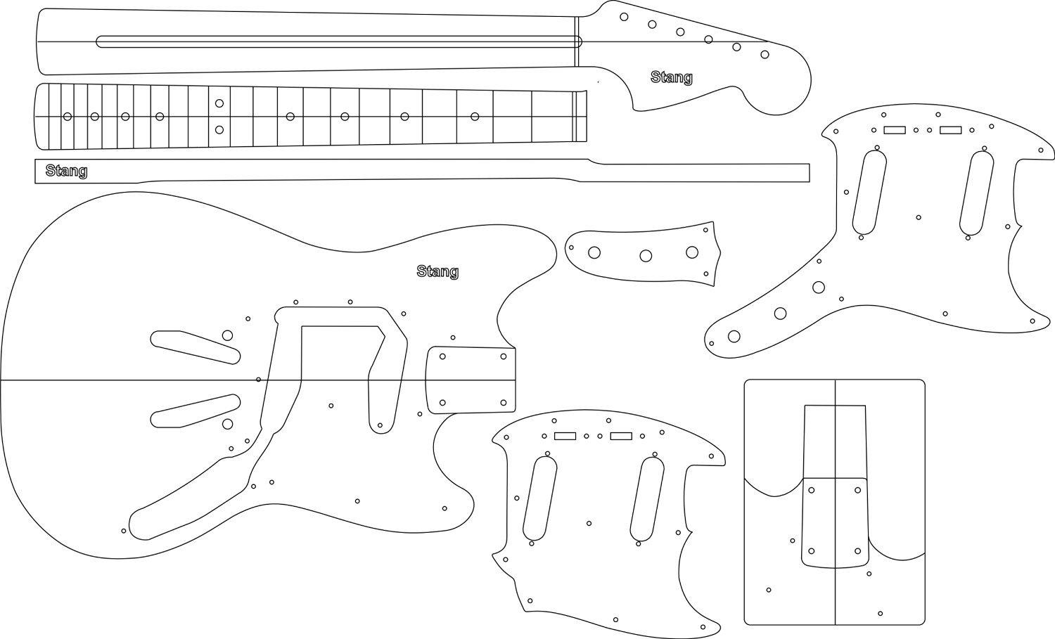 Buy Electric Guitar Layout Template Stang In Cheap Price On