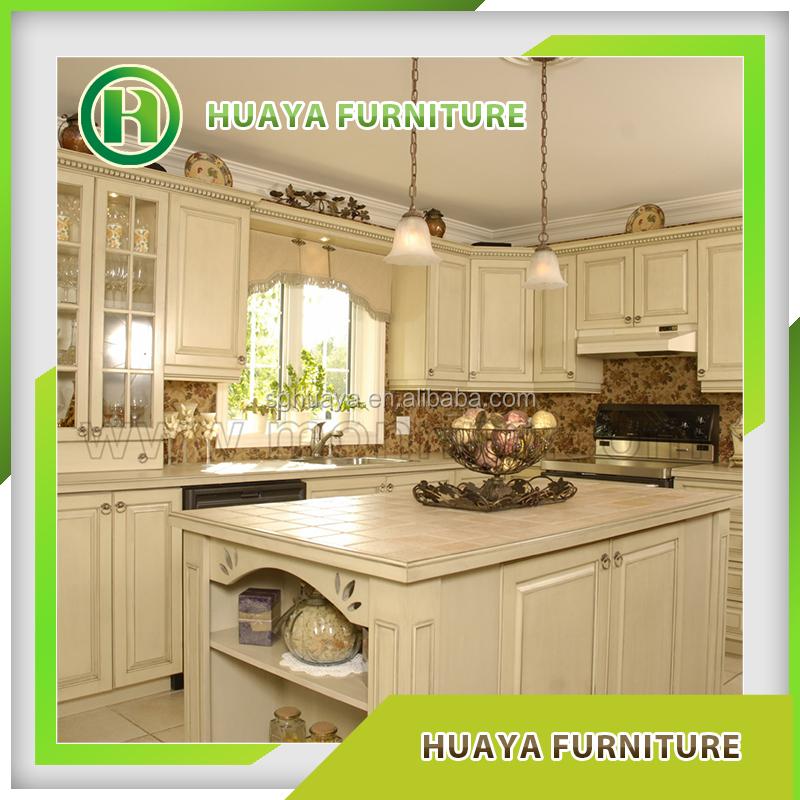 Wood Grain Kitchen Cabinets: Pvc Wood Grain Kitchen Cabinets/vinyl Wrapped Kitchen