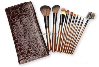 10pcs snake skin pattern cosmetic applicator tool kit pouch/gold makeup kit free samples/