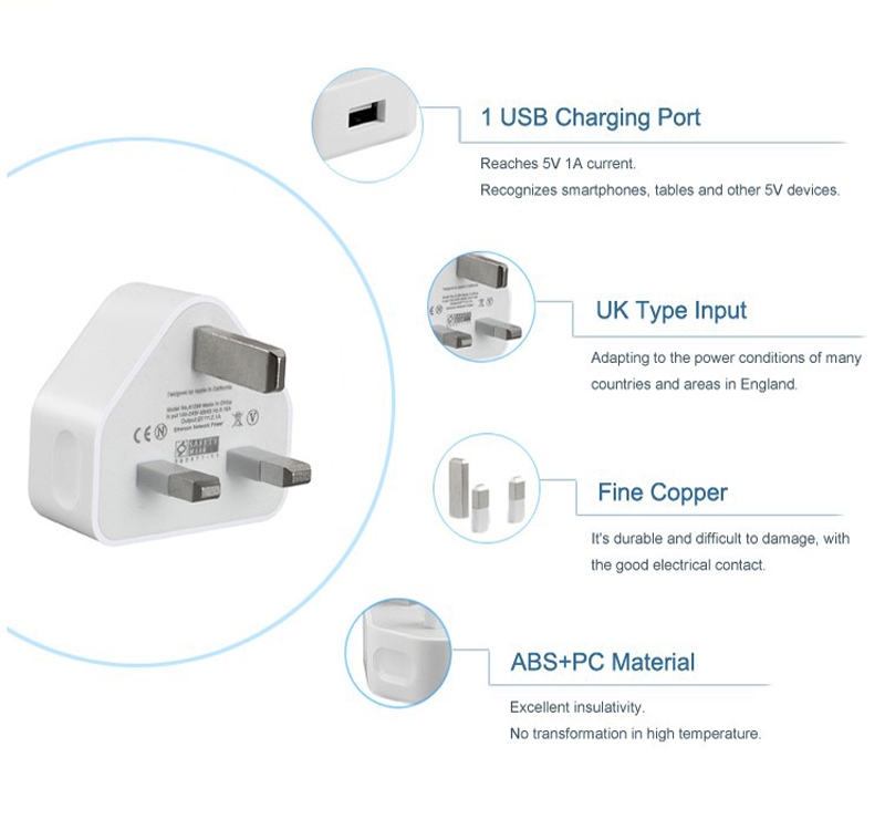 5V 1A Travel USB Wall Charger UK 3pin Plug USB Wall Charger For Mobile Phone