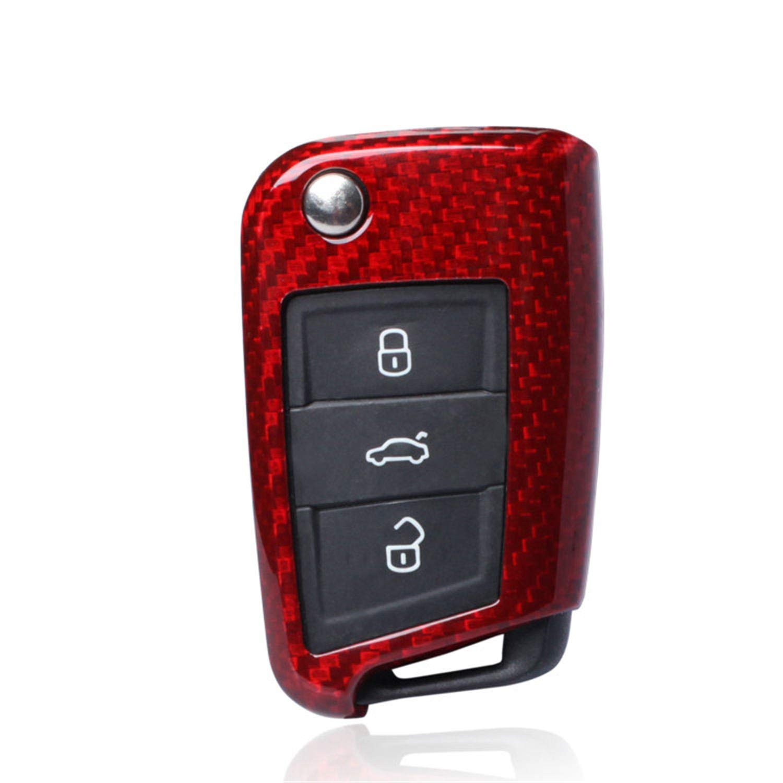 100% Carbon Fiber Case For Volkswagen Skoda Key Fob, Genuine Carbon Fiber Cover For VW Golf 7 Lamando Tiguan Touran L Skoda Superb Octavia Flip Remote Key, Women's Men's Car Key Fob Case Cover - Red