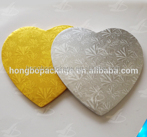 heart shaped gold silver cake drums for decoration