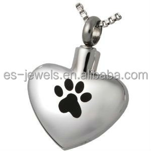 Pet Cremation Jewelry Stainless Steel Paw My Heart- wide heart Pendant
