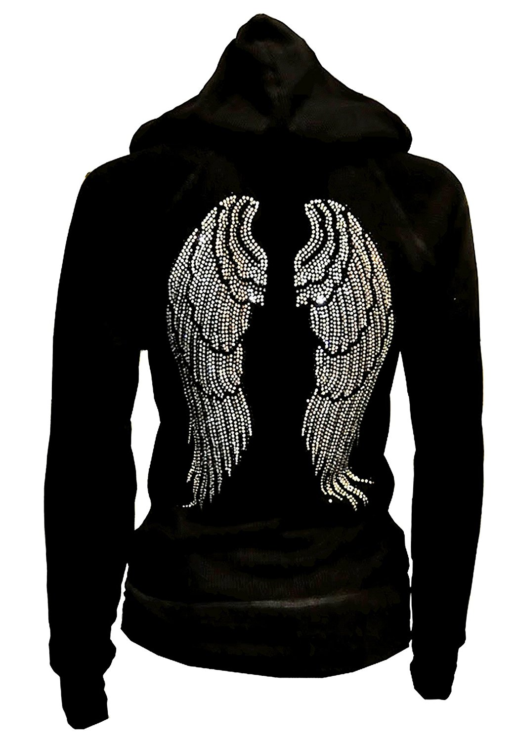 fd5dcf4cf3b1 Get Quotations · Lady Plus Size Angel Wings Zip up Hoodie Sweater with  Rhinestones Front   Back