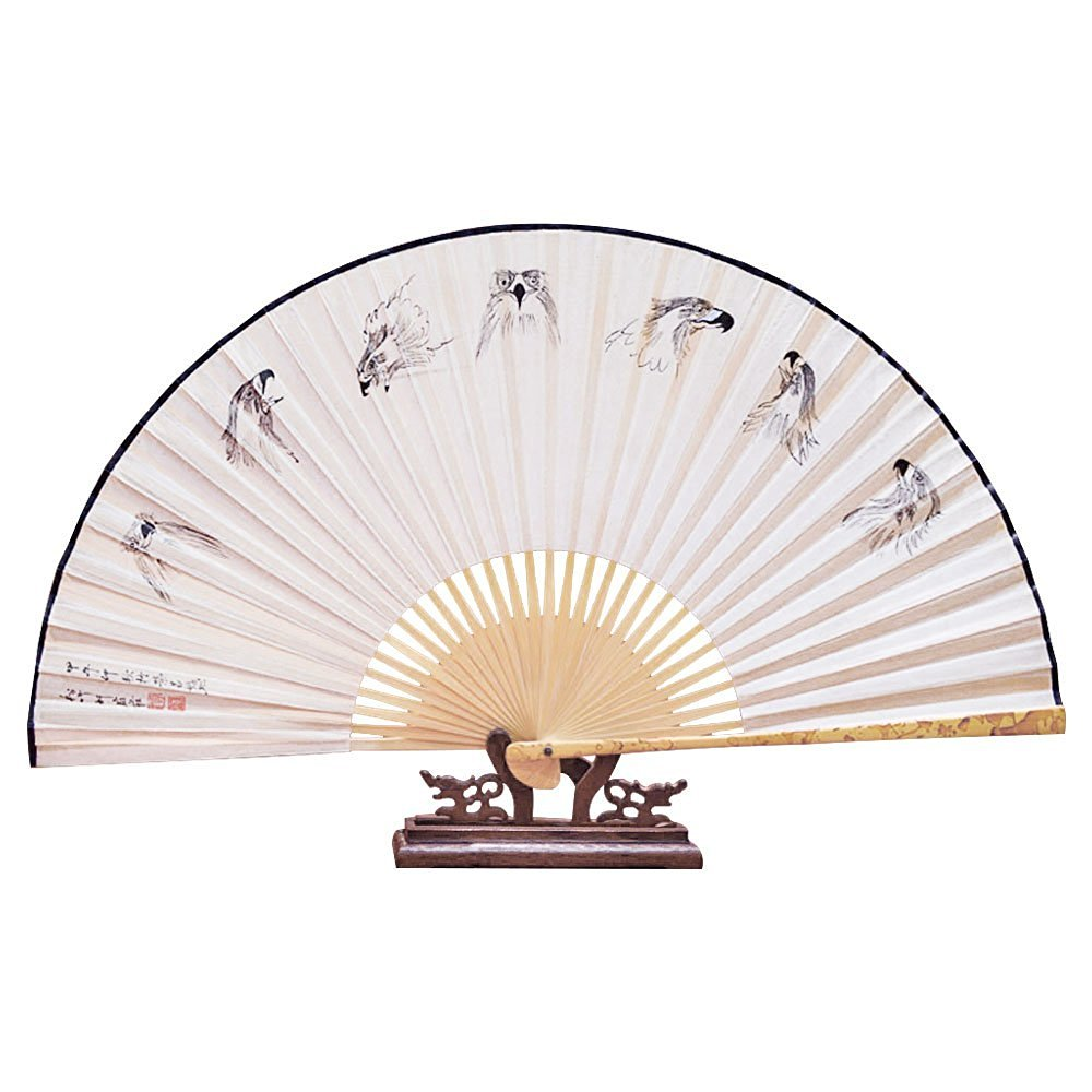 Buy OULII Folding Hand Fan Chinese Folding Wood Panel Hand Fan ...