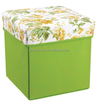 Folding Storage Bin Woven Hat Box Storage Stool Seat Box