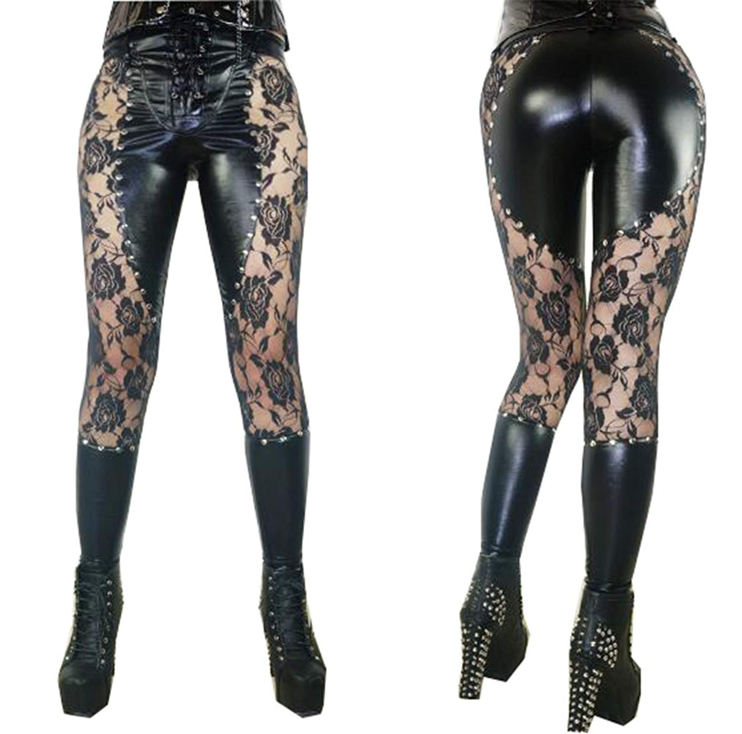 e4947ed76a6 Evalent Women Sexy Lace Faux Leather Wetlook Bodysuit Hollow Up Pants  Clubwear Leggings