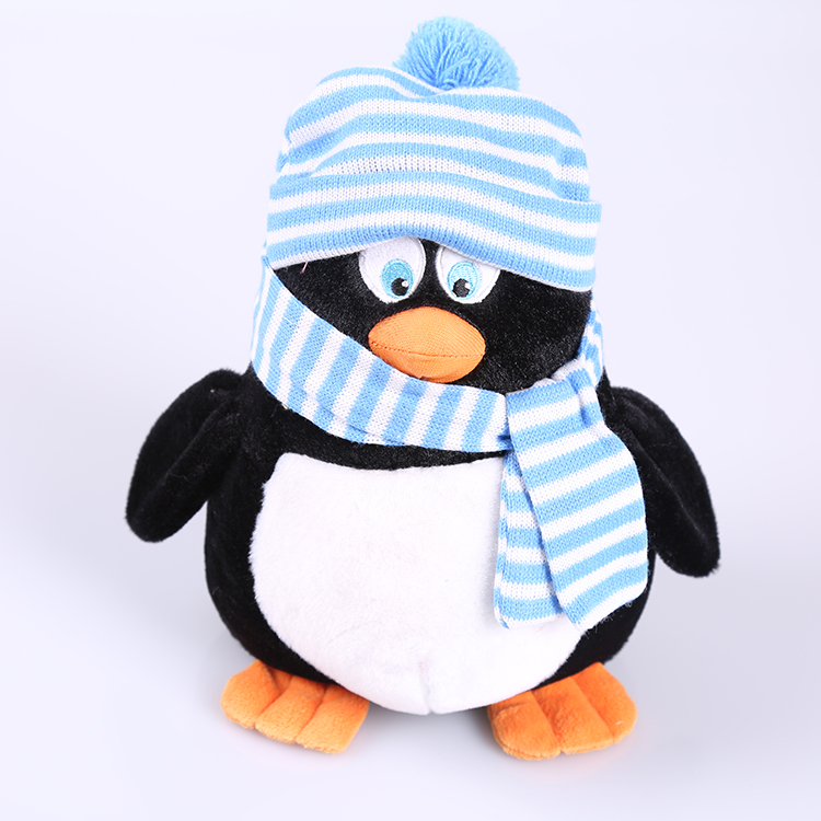 Hot selling blue hat and scarf QQ penguin plush toys