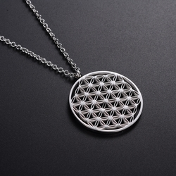 Top Quality Sacred Geometry Stainless Steel Material Never Fade Hollow Flower Of Life Pendant Necklace Wholesale In Stock