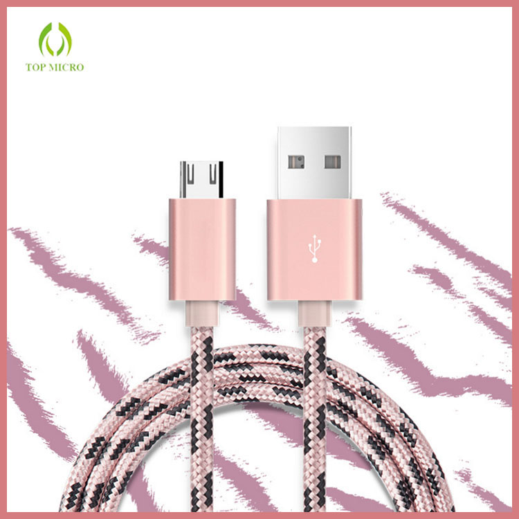 2016 High quality Fast charging Nylon Tiger Stripes Usb Micro Cable For Android
