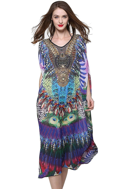 3c4ce22870 Get Quotations · Mypassa Women Plus Size Sheer Chiffon Long Summer Beach  Dress Cover up Swimwear Caftan Dress