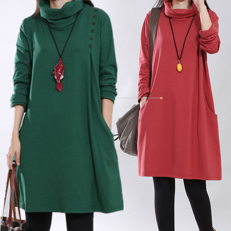 High Necked Knitting Maternity Dress Autumn Clothes for Pregnant Women Plus Size Cotton Winter Clothing