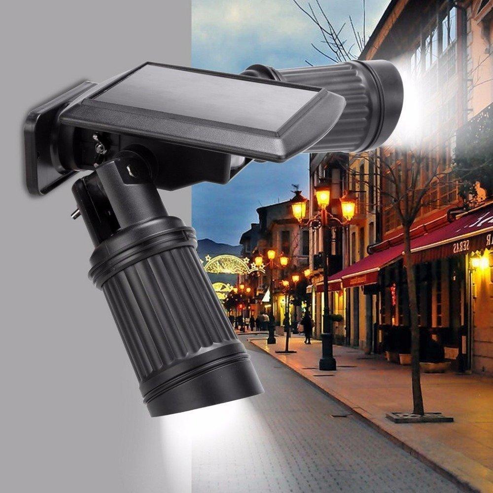 TechCode Solar Lights Outdoor, 14 LEDs Solar Lamp PIR Motion Sensor Dual Head Spotlight Adjustable Waterproof Wall Led Night Light for Patio, Deck, Yard, Garden, Driveway - Black
