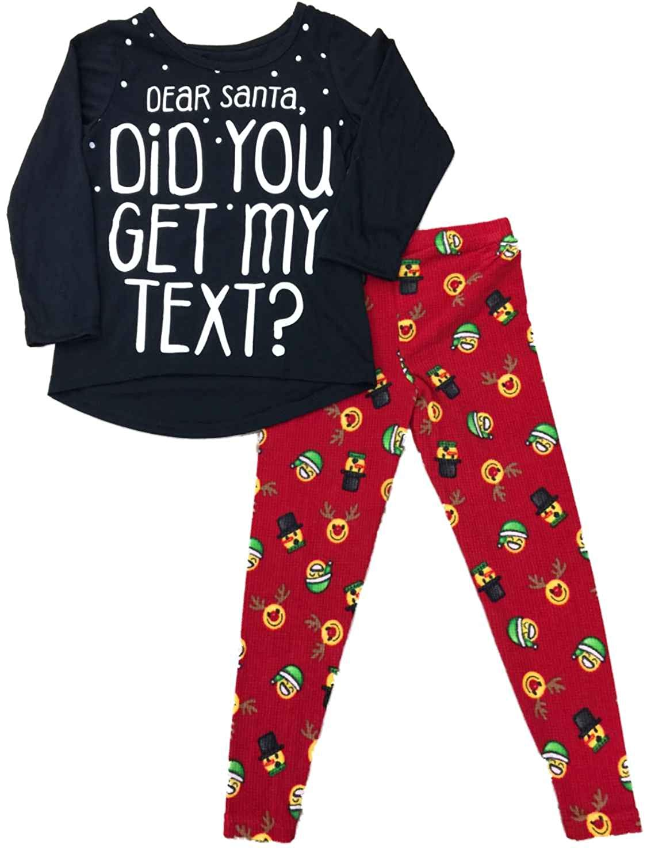 efcdb79da Get Quotations · Komar Kids Girls Dear Santa Pajamas Reindeer Emoji Face  Christmas Holiday 2 Pc Sleep Set
