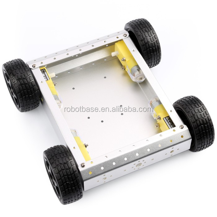 AS-4WD Rubber Wheel Underpan Aluminum Mobile Robot Car Chassis Electric Vehicle Platform Special Robotics Competition (Gold)
