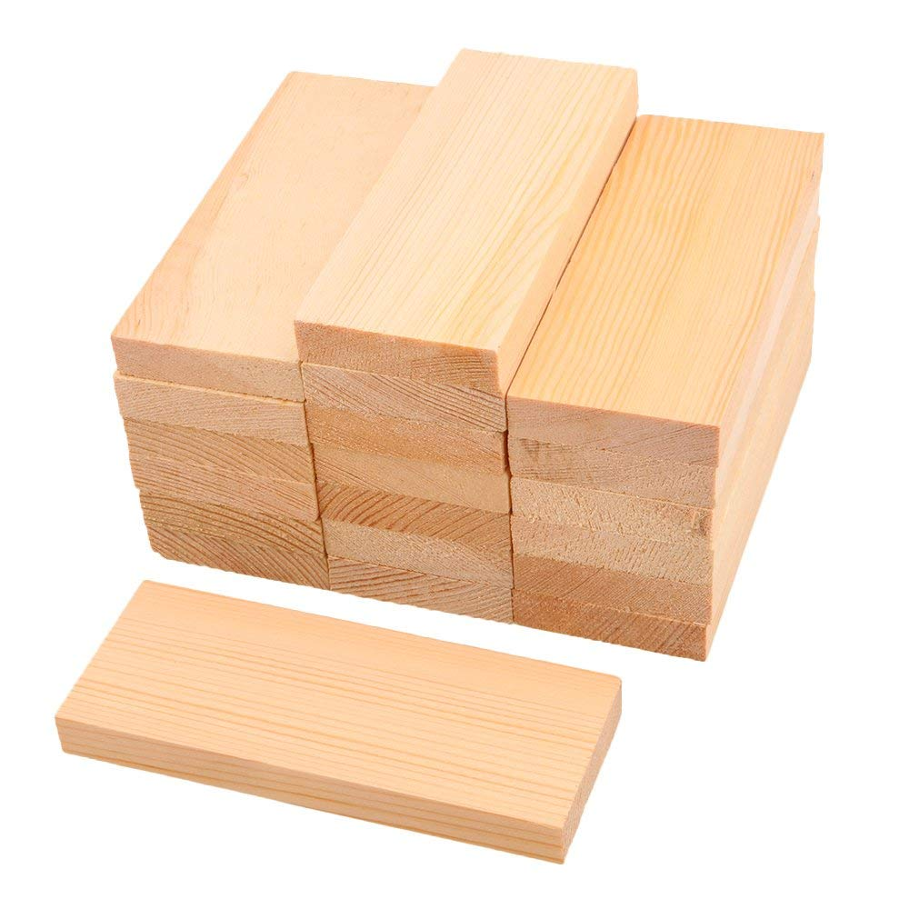 RDEXP 5x5cm Blank Square Wooden Pieces Unfinished Unpainted Wood Sheets for Wood DIY Craft Carving Wood Decoration Set of 20