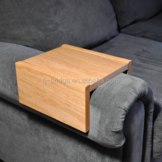 Bamboo Chair Caddy Wood Tray Wood Armrest Couch Table Sofa Arm Table