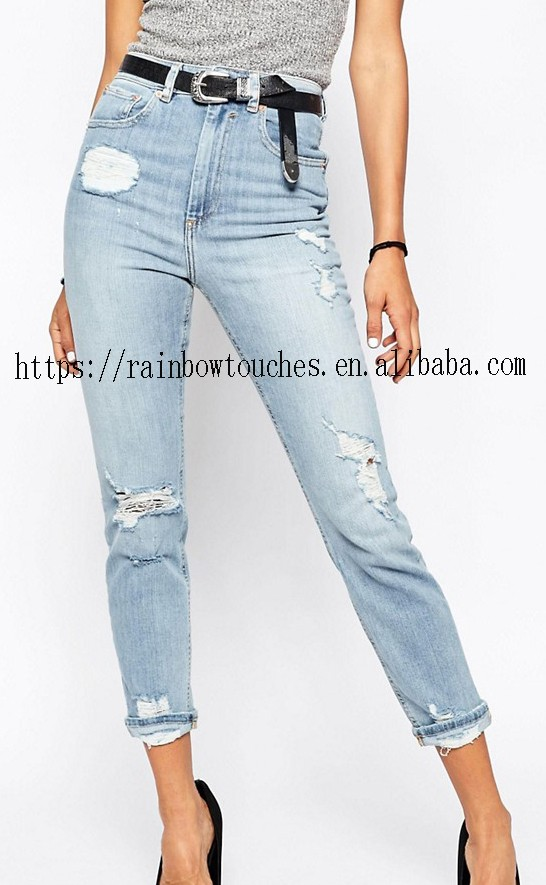 Cheap wholesale high waist slim rips jeans in blue washed